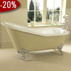Forstør Ritz - Slipper Badekar, Støbejern & Fødder i krom - Badekaret måler 1.700 x 760 mm | Bredt udvalg af badekar kan købes billigt online hos VillaHus.com