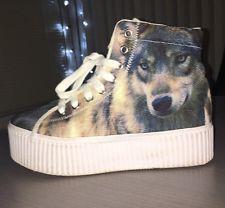Jeffrey Campbell JC. PLAY Art Canvas Wolf Print High Tops Size 9 Shoes Platforms
