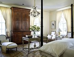 Classical Ivory Bedroom This master bedroom in the 2009 Lake Forest Showhouse is an envelope of serenity, cloaked in creamy fabrics and natural light. Breathtaking...