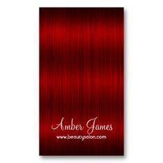 Long Wavy Red 3 Hair Colorist Salon Business Card