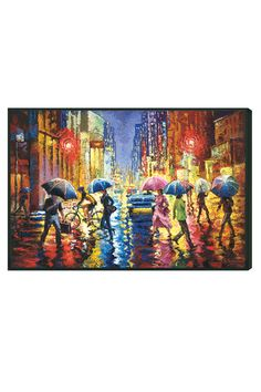 Lights in the Rain, Framed Canvas - Beyond the Rack