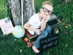 Set up a mini back-to-school photo session with your tot the weekend before school starts. Use your child\'s new school supplies as props and play professional photographer for a day. Source: Flickr user emilyonasunday
