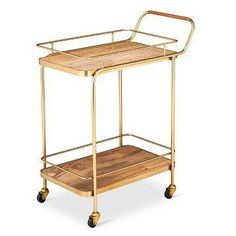 36 inches H x 16.4 inches W x 28 inches D $124 https://www.target.com/p/metal-wood-and-leather-bar-cart-gold-threshold-153/-/A-50746401