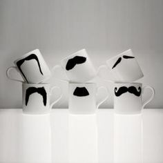 Moustache mugs. Perfect for those who can't grow in Movember!
