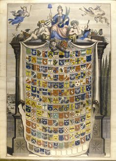 Johannes Sluyter ACTIVE LATE 18TH CENTURY THE CITY OF AMSTERDAM Engraving depicting a coat-of-arms of prominent citizens of Amsterdam, inscribed with the motto 'CONSERVAT UTRAMAQUE ', late 18th century, published by Johannes Slutyters, framed
