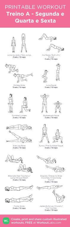 Exercícios - Glúteos, Pernas, Abdómen - Casa