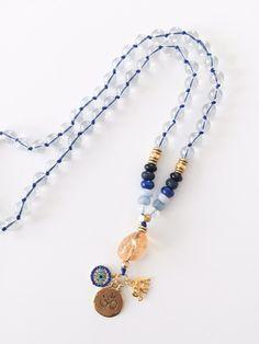 OCEAN Modest Mala    Blue Quartz, Obsidian, Jade, Lapis Lazuli, Aquamarine, Angel Aura, and Citrine half mala