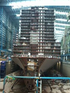 looking up at Norwegian Escape under construction Biggest Cruise Ship, Best Cruise Ships, Marine Diesel Engine, Ship Breaking, Anthem Of The Seas, Cruise Critic, Scary Places, Navy Ships, Cruise Travel