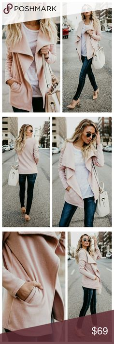 1hr sale 🆕️ pink pocketed open cardigan jacket New shawl draped pink open cardigan jacket with pockets   66% polyester 15% Rayon 15% cotton 4% spandex  SALE PRICE FIRM Jackets & Coats
