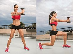 DUMBBELL TWISTING LUNGE: Hardcore Waist Whittlers | Muscle & Fitness