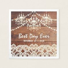 RUSTIC COUNTRY CHANDELIER WEDDING   BARN LACE PAPER NAPKIN