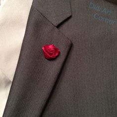 Flower Lapel Pin Elegant Handcrafted Red Apple by DidiArtCorner Lapel Flower, Satin Roses, Stick Pins, Black Ribbon, Red Apple, Lapel Pins, Elegant, Flowers, Color