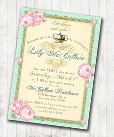 1st Birthday Tea Party Invitation Shabby Chic por jjMcBean