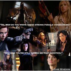 Joss Whedon's female characters: River Tam, Buffy Summers, Black Widow, Echo, Zoe Washburne, Illyria, Dark Willow, and Maria Hill