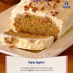 egg less carrot cake No Egg Desserts, Eggless Desserts, Eggless Baking, Indian Desserts, Delicious Desserts, Indian Sweets, Stork Recipes, Egg Free Recipes, Baking Recipes
