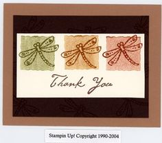 This was one that I made when I first started stamping, and my SIL wanted 4 non-feminine thank you cards. Quick Cards, Cute Cards, Diy Cards, Card Making Tips, Making Ideas, Senior Club, Cardmaking And Papercraft, Hand Stamped Cards, Dragon Flies