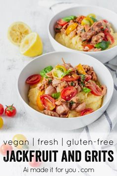 This vegan grits recipe is the perfect gluten-free meal! Creamy vegan polenta cooked in coconut milk is topped with savory jackfruit confit with tomatoes and basil! #vegangrits #veganpolenta #coconutmilk #veganrecipe #glutenfree #jackfruit Best Vegan Recipes, Vegetarian Recipes Easy, Vegan Ideas, Healthy Recipes, Delicious Recipes, Gluten Free Baking, Vegan Gluten Free, Easy Diets To Follow, No Yeast Bread
