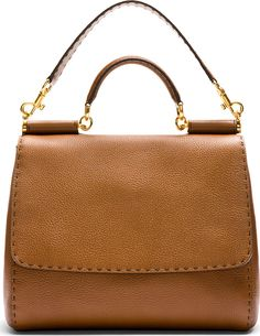 1cdc00b11d Dolce   Gabbana Brown Pebbled Leather Miss Sicily Large Bag 42003F070007  Structured pebbled leather bag in