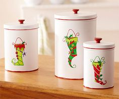 Christmas Treat Canisters CUTE BUT NO PATTERN JUST AN IDEA WANTED THE PATTERN MYSELF POOH