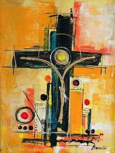 abstract painting of the cross <3 this!