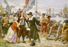 The Fall of New Amsterdam, by Jean Leon Gerome Ferris. Peter Stuyvesant (left of center, with wooden leg) stands on shore among residents of New Amsterdam who plead with him not to fire on the English warships.