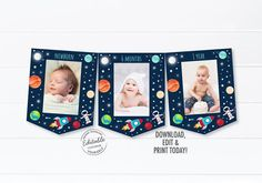 1st Birthday Boy Gifts, Birthday Drinks, First Birthday Banners, First Birthday Parties, Milestone Birthdays, First Birthdays, Monthly Photos, Baby Shower Welcome Sign, Photo Banner
