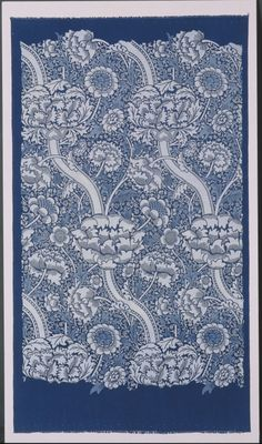 ¤ William Morris called this pattern 'Wandle'. He named it after the river that ran through his Merton Abbey Works 'to honour our helpful stream'. It contained the soft water that plays an important part in dyeing textiles. This example shows the 'Wandle' pattern after its first application before other colours are added. The white areas are fully discharged. The pale blue shows the areas where a weaker form of discharging agent has been used.