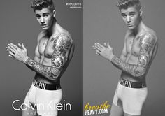 It Looks As If Calvin Klein Photoshopped Justin Bieber To Give Him A Bigger Bulge An example of an alleged digital alteration of an image using Photoshop in a Calvin Klein ad. This is a possible manipulation of Justin Bieber's body type, which is not unco Mark Wahlberg, Photoshop For Photographers, Photoshop Photography, Photo Retouching, Photo Editing, Famous Celebrities, Celebs, Photoshop Celebrities, Beautiful Celebrities