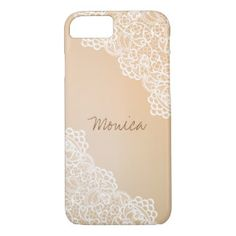 Simple Beige and White Lace, Custom iPhone 7 Case