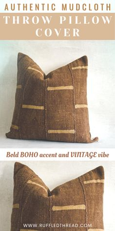 DUPÉ - This is an earthy Mali handwoven textile, combined with an African geo print, with an end result of a bold boho accent and vintage vibe. Its design and pattern go great with any neutral-colored couch or bed while adding a decorative touch that never gets old or goes out of style. #handmade #textured #pillowcover #homedecor #bohodecor #vintagevibe #decorinspiration