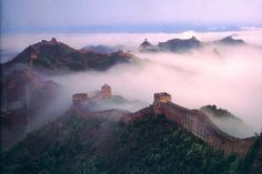 the wall of china in fog