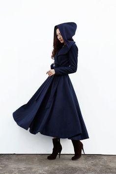 Navy Blue Hooded Wool Coat / Women Wool Jacket by Sophiaclothing