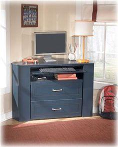 Leo Youth Blue Wood Corner Media Desk with Stool