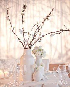 Simple white centerpieces