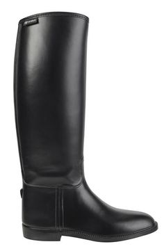 Aigle leather-look rubber riding boots. If one does not ride, these go well with a skirt.