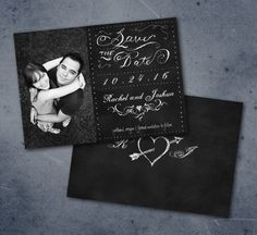 chalkboard save the date with hand-drawn typography