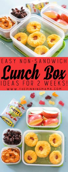 Corn Dog Muffins Lunch box idea - Just one of 2 weeks worth of non-sandwich school lunch ideas that are fun, healthy, and easy to make! Grab your lunch bag or bento box and get started!