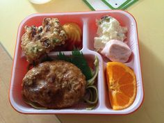 Tofu hamburger with pasta, fishcake, fried potato with ketchup, potato salad, wiener, and mikan (tangerine). - Japanese School Lunch via What's For School Lunch?