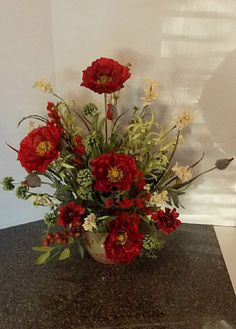 Silk Floral Arrangement, Red Poppies with Dancing Field Flowers and Greenery, Sofa Table Floral Arrangement, Dinning Room Floral Arrangement