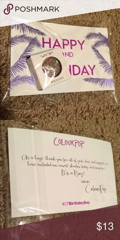 Limited Edition Colourpop Birthday Boy Eyeshadow Colourpop limited edition eyeshadow Birthday Boy New in packaging, never opened, never swatched. Lower price on Ⓜ️ Colourpop Makeup Eyeshadow