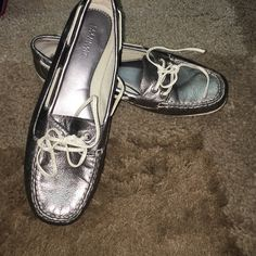 Silver sperrys Super comfy! Shiny silver color. Size 8 women's. In good condition. Small wear and tear on bottom of soles but shoe is in good shape. :) accepting fair offers:) Sperry Top-Sider Shoes