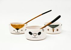 Ceramic bowls set x 3  Small pottery bowls  Animal by noemarin, €36.00