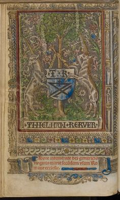 """""""Two unicorns bearing a coat of arms. This book was printed by Thielman Kerver in 1517. Colored copy. @UBNijmegen"""""""