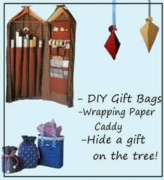 Simplicity 5777 - Great DIY Christmas Gift Bags - Wrapping Paper Storage Station - Gift Hiding Xmas Ornaments - Lovely, Handy Gifts Diy Gift Bags From Wrapping Paper, Wrapping Paper Station, Wrapping Paper Storage, Ornament Box, Xmas Ornaments, Christmas Gift Bags, Christmas Diy, Craft Patterns, Cool Gifts