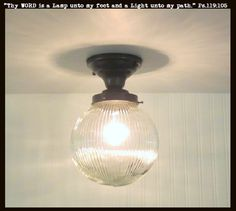 Globe Ceiling LIGHT Semi Flush Mount Large Holophane - Clear Glass Lighting Fixtues - The Lamp Goods - 1