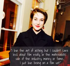 Shai quote... I think acting is such a difficult but beautiful profession. To be able to act like a completely different person in a second is an amazing talent. I have great respect for actors. I could never be one. ~Divergent~ ~Insurgent~ ~Allegiant~