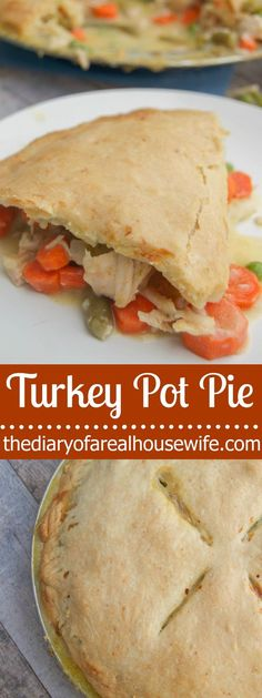 Turkey Pot Pie. Perfect recipe for left overs! I LOVE how simple and yummy this dinner recipe is.