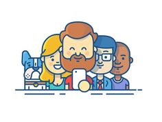 An illustration created for the log in screen for the JIRA & Confluence app. Bringing all the previous characters in the proposition pages together as a team.   Large file attached  Keen to hea...