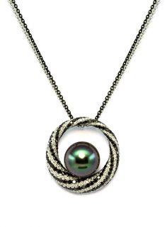 Tahitian Pearl Black Diamond Pendant | Baggins