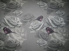 Stoff Blumen - Jersey Stenzo Rosen Vögel grau - ein Designerstück von naehschaetzchen bei DaWanda